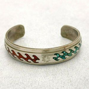 Vintage Nakai Sterling Turquoise Coral Inlay Cuff